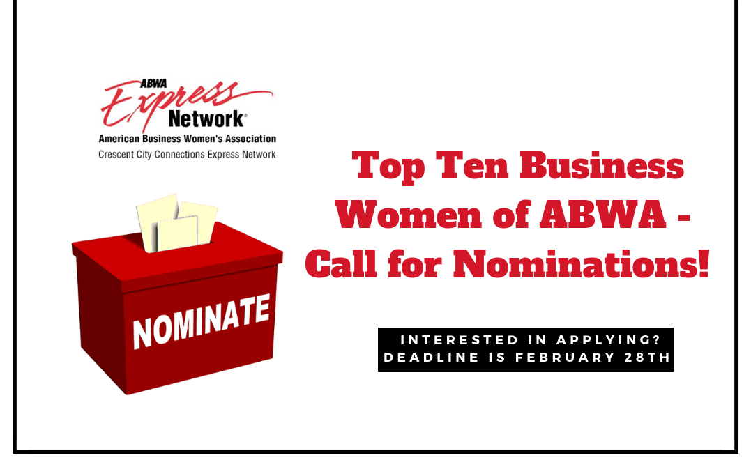 Top Ten Business Women of ABWA – Call for Nominations!