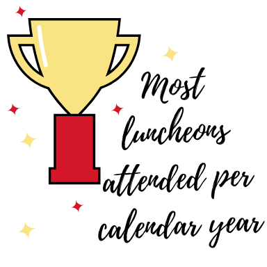 Most luncheons attended per calendar year - Level 1